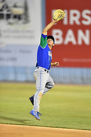 Lexington Legends first baseman Nick Pratto (30) jumps for the ball during a game against the Asheville Tourists at McCormick Field on May 25, 2018 in Asheville, North Carolina. The Tourists defeated the Legends 6-4. (Tony Farlow/Four Seam Images)