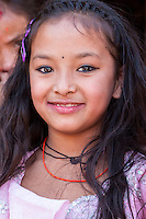 Nepal, Changu Narayan.  Young Hindu Girl.