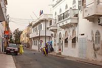 Senegal, Saint Louis.  Street Scene, Colonial Era Buildings.