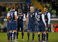 Maurice Edu (l, USA), Michael Bradley  (m, USA), during the friendly match Italy against USA at the Stadium Luigi Ferraris at Genoa Italy on february the 29th, 2012.