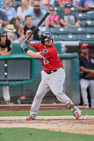 Sheldon Neuse (26) of the Nashville Sounds bats against the Salt Lake Bees at Smith's Ballpark on July 27, 2018 in Salt Lake City, Utah. The Bees defeated the Sounds 8-6. (Stephen Smith/Four Seam Images)