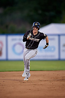 Charlotte Knights Zack Collins (8) running the bases during an International League game against the Syracuse Mets on June 11, 2019 at NBT Bank Stadium in Syracuse, New York.  Syracuse defeated Charlotte 15-8.  (Mike Janes/Four Seam Images)