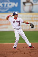 Potomac Nationals second baseman Bryan Mejia (2) throws to first base during the first game of a doubleheader against the Salem Red Sox on May 13, 2017 at G. Richard Pfitzner Stadium in Woodbridge, Virginia.  Potomac defeated Salem 6-0.  (Mike Janes/Four Seam Images)