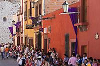Crowd gathers for the EASTER PROCESSION commencing from the  TEMPLO DEL ORATORIO DE SAN FELIPE NERI - SAN MIGUEL DE ALLENDE, MEXICO ...