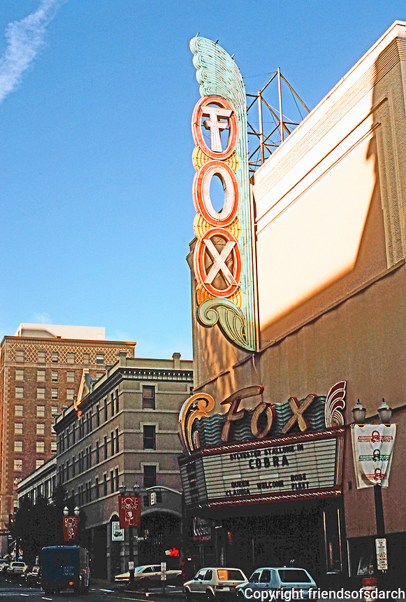 Portland: Fox Theater, 837 SW  Broadway. Opened in 1910 as the Heilig Theatre, designed by architect Edwin W. Houghton. Demolished in the '90's. Photo '86.