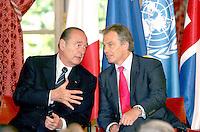 JACQUES CHIRAC & TONY BLAIR. French President Jacques Chirac meets U.K.'s Prime Minister Tony Blair & Kofi Annan (General Secretary Of United Nations ) at the Elysee Palace. #