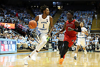 CHAPEL HILL, NC - NOVEMBER 01: Rechon Leaky Black #1 of the University of North Carolina drives against Justin Ross #11 of Winston-Salem State University during a game between Winston-Salem State University and University of North Carolina at Dean E. Smith Center on November 01, 2019 in Chapel Hill, North Carolina.