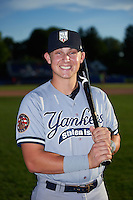 Staten Island Yankees Dalton Blaser (22) poses for a photo before a game against the Batavia Muckdogs on August 27, 2016 at Dwyer Stadium in Batavia, New York.  Staten Island defeated Batavia 13-10 in eleven innings.  (Mike Janes/Four Seam Images)