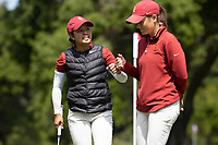 STANFORD, CA - APRIL 24: Alyaa Abdulghany, Katie Woodruff at Stanford Golf Course on April 24, 2021 in Stanford, California.