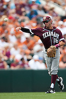 Texas A&M Aggies shortstop Mikey Reynolds #16 throws to first during the NCAA baseball game against the Texas Longhorns on April 28, 2012 at UFCU Disch-Falk Field in Austin, Texas. The Aggies beat the Longhorns 12-4. (Andrew Woolley / Four Seam Images)...