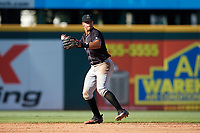 Jupiter Hammerheads shortstop Joe Dunand (3) throws to first base during the second game of a doubleheader against the Bradenton Marauders on May 27, 2018 at LECOM Park in Bradenton, Florida.  Jupiter defeated Bradenton 4-1.  (Mike Janes/Four Seam Images)