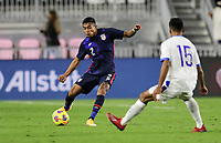FORT LAUDERDALE, FL - DECEMBER 09: Julian Araujo #2 of the United States sends a ball downfield during a game between El Salvador and USMNT at Inter Miami CF Stadium on December 09, 2020 in Fort Lauderdale, Florida.