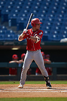 Ian Moller (40) of Wahlert Catholic School in Dubuque, IA playing for the Cincinnati Reds scout team during the East Coast Pro Showcase at the Hoover Met Complex on August 4, 2020 in Hoover, AL. (Brian Westerholt/Four Seam Images)