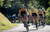Tom Dumoulin (NED/Jumbo-Visma) & yellow jersey / GC leader Primoz Roglic (SVK/Jumbo-Visma) coming down the Selle de Fromentel<br /> <br /> Stage 15 Lyon to Grand Colombier (175km)<br /> <br /> 107th Tour de France 2020 (2.UWT)<br /> (the 'postponed edition' held in september)<br /> <br /> ©kramon
