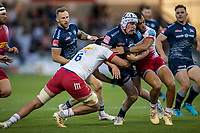 4th June 2021; AJ Bell Stadium, Salford, Lancashire, England; English Premiership Rugby, Sale Sharks versus Harlequins; Curtis Langdon of Sale Sharks is tackled by Archie White of Harlequins