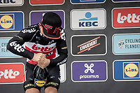 race winner Caleb Ewan (AUS/Lotto-Soudal) having some trouble with the victory protocol...<br /> <br /> wins the 108th Scheldeprijs 2020 (1.Pro) <br /> <br /> 1 day race from Schoten to Schoten BEL (173km)<br /> <br /> ©kramon