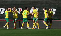 31st October 2020; Ashton Gate Stadium, Bristol, England; English Football League Championship Football, Bristol City versus Norwich; Goal celebrations for Teemu Pukki of Norwich City  for his 2nd goal in the 14th minute for 1-2