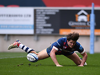 27th March 2021; Ashton Gate Stadium, Bristol, England; Premiership Rugby Union, Bristol Bears versus Harlequins; Piers O'Conor of Bristol Bears scores his try for 19-14 in 31st minute