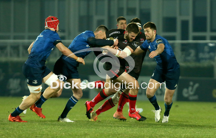 8th January 2021 | Leinster vs Ulster <br /> <br /> Stuart McCloskey is tackled by Johnny Sexton and Ross Byrne during the PRO14 Round 11 clash between Leinster Rugby and Ulster Rugby at the RDS Arena, Ballsbridge, Dublin, Ireland. Photo by John Dickson/Dicksondigital