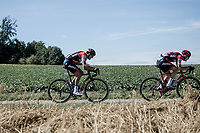 Greg Van Avermaet (BEL/BMC) trying to catch the wheel of teammate Loïc Vliegen (BEL/BMC)<br /> <br /> Binckbank Tour 2018 (UCI World Tour)<br /> Stage 6: Riemst (BE) - Sittard-Geleen (NL) 182,2km