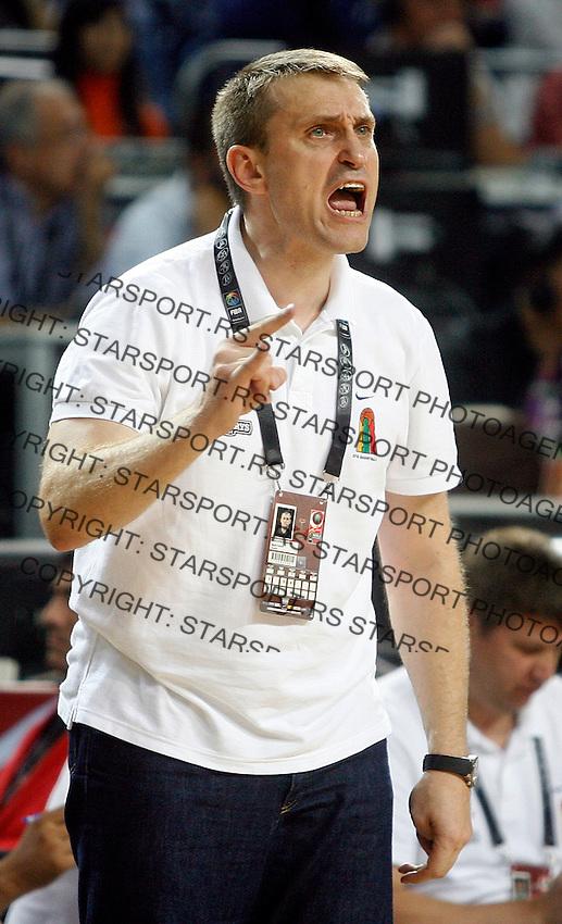 Kestutis KEMZURA (Lithuania) head coach, reacts  during the semi-final World championship basketball match against USA in Istanbul, USA-Lithuania, Turkey on Saturday, Sep. 11, 2010. (Novak Djurovic/Starsportphoto.com)
