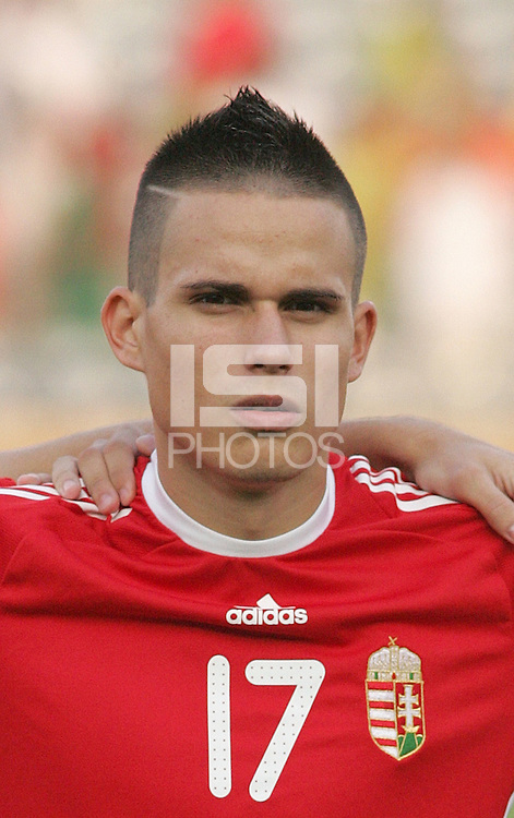Hungary's Adras Gosztonyi (17) stands on the field before the game against Ghana at the FIFA Under 20 World Cup Semi-final match at the Cairo International Stadium in Cairo, Egypt, on October 13, 2009. Costa Rica won the match 1-2 in overtime play. Ghana won the match 3-2.