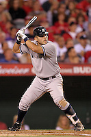 New York Yankees designated hitter Jesus Montero #63 bats against the Los Angeles Angels at Angel Stadium on September 10, 2011 in Anaheim,California. Los Angeles defeated New York 6-0.(Larry Goren/Four Seam Images)