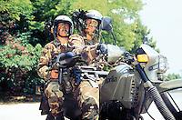 """- Italian army, training of the mechanized brigade Garibaldi, motorcyclists with antitank rocket launcher """"Panzerfaust""""....- esercito italiano, addestramento della brigata meccanizzata Garibaldi, motociclisti con lanciarazzi anticarro """"Panzerfaust"""".."""