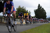 Rylee Field (Australia /Team BridgeLane, yellow jersey) sticks near the front of the pelton during stage five of the NZ Cycle Classic UCI Oceania Tour (Masterton Circuit) in Wairarapa, New Zealand on Sunday, 19 January 2020. Photo: Dave Lintott / lintottphoto.co.nz