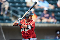 Jung Ho Kang (27) of the Indianapolis Indians at bat against the Columbus Clippers at Huntington Park on June 17, 2018 in Columbus, Ohio. The Indians defeated the Clippers 6-3.  (Brian Westerholt/Four Seam Images)