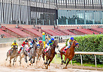 March 14, 2020: An empty grandstand overlooks racing on Rebel Stakes Day as the novel coronavirus pandemic sparks outbreaks across the country, causing the suspension of nearly all major sporting events with one of the few exceptions being horse racing. The need to keep thoroughbreds in good health has brought race tracks like Oaklawn Racing Casino Resort in Hot Springs, Arkansas to chose to allow racing, but kept the house empty of everyone but vital staff and some media in order to prevent the spread of COVID-19 on March 14, 2020. Photo by Ted McClenning/Eclipse Sportswire/Cal Sport Media