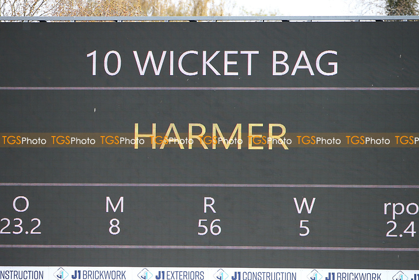 The scoreboard shows that Simon Harmer has taken 10 wickets in the match during Essex CCC vs Durham CCC, LV Insurance County Championship Group 1 Cricket at The Cloudfm County Ground on 18th April 2021