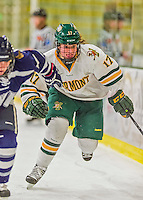 14 February 2015: University of Vermont Catamount Forward Delia McNally, a Senior from Glen Head, NY, in first period action against the University of New Hampshire Wildcats at Gutterson Fieldhouse in Burlington, Vermont. The Lady Catamounts rallied from a 3-1 deficit to earn a 3-3 tie in the final home game of their NCAA Hockey East season. Mandatory Credit: Ed Wolfstein Photo *** RAW (NEF) Image File Available ***