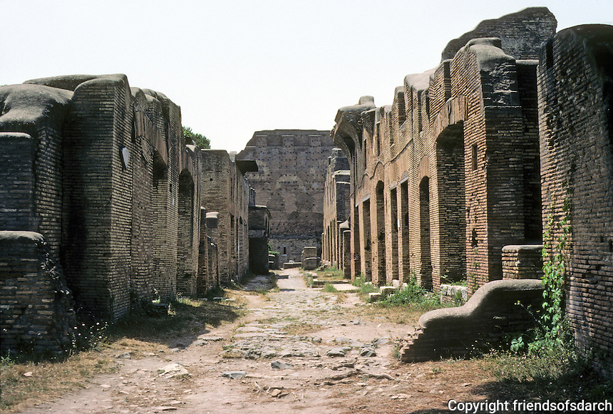 Italy: Ostia--View down Via Dei Balcon to Casa Di Diana on right. At the end of the street, the large form of the Capitol. Photo '83.