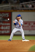 Tennessee Smokies second baseman Trent Giambrone (6) waits to receive a throw to start a double play during a game against the Birmingham Barons on August 16, 2018 at Regions FIeld in Birmingham, Alabama.  Tennessee defeated Birmingham 11-1.  (Mike Janes/Four Seam Images)