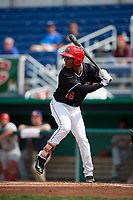 Batavia Muckdogs third baseman Ronal Reynoso (26) at bat during a game against the Auburn Doubledays on September 1, 2018 at Dwyer Stadium in Batavia, New York.  Auburn defeated Batavia 10-5.  (Mike Janes/Four Seam Images)