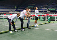 29-01-2014,Czech Republic, Ostrava,  Cez Arena, Davis-cup Czech Republic vs Netherlands, practice, Czech team playing a game who is the closest to the baseline<br /> Photo: Henk Koster