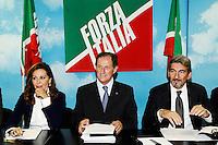 """Daniela Santanche' Mario Mantovani Raffaele Cattaneo <br /> Milano 20/09/2013 Viale Monza<br /> conferenza stampa 'Da Pdl a Forza Italia' <br /> Press conference """"From PDL to Forza Italia"""" <br /> foto Andrea Ninni/Image/Insidefoto"""