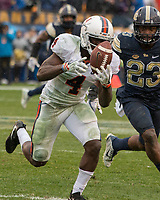 Virginia wide receiver Olamide Zaccheaus makes a catch. The Pitt Panthers defeated the Virginia Cavaliers 31-14 at Heinz Field, Pittsburgh, PA on October 28, 2017.