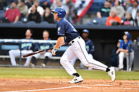 Asheville Tourists first baseman Grant Lavigne (34) swings at a pitch during a game against the Augusta GreenJackets at McCormick Field on April 4, 2019 in Asheville, North Carolina. The GreenJackets defeated the Tourists 9-5. (Tony Farlow/Four Seam Images)
