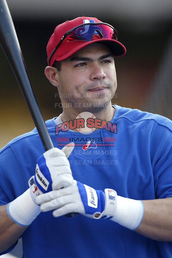 Jose Vidro of the Montreal Expos before a 2002 MLB season game  against the Los Angeles Dodgers at Dodger Stadium, in Los Angeles, California. (Larry Goren/Four Seam Images)
