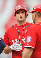 24 September 2011: Washington Nationals third baseman Ryan Zimmerman stands at first during game action against the Atlanta Braves at Nationals Park in Washington, DC. The Nationals defeated the Braves 4-1 to even up their 3-game series. Mandatory Credit: Ed Wolfstein Photo