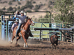 Matt Husseman competes in the calf-roping event at the Minden Ranch Rodeo action Saturday, July 21, 2012..Photo by Cathleen Allison