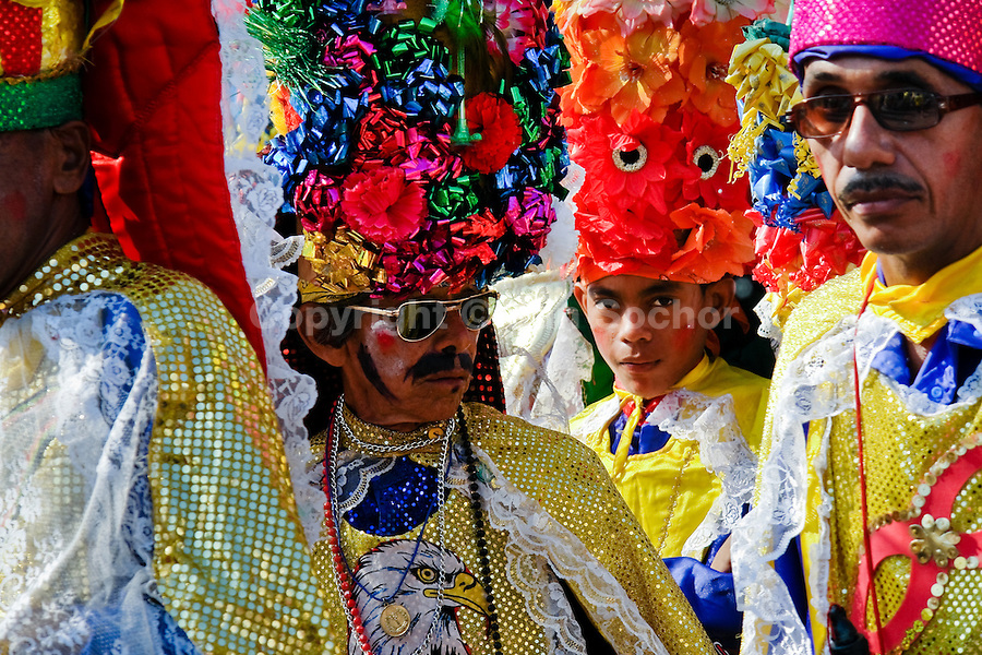 Colombian men, performing Congo warriors, dance during the Carnival in Barranquilla, Colombia, 27 February 2006. The Carnival of Barranquilla is a unique festivity which takes place every year during February or March on the Caribbean coast of Colombia. A colourful mixture of the ancient African tribal dances and the Spanish music influence - cumbia, porro, mapale, puya, congo among others - hit for five days nearly all central streets of Barranquilla. Those traditions kept for centuries by Black African slaves have had the great impact on Colombian culture and Colombian society. In November 2003 the Carnival of Barranquilla was proclaimed as the Masterpiece of the Oral and Intangible Heritage of Humanity by UNESCO.