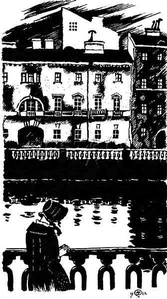Dobuschinski, Mstislaw Walerianowitsch (1875-1957), Illustration zur Novelle 'Weiߥ N䣨te' von F, Dostojewski, Tusche auf Papier, Buchillustration, 1922, Staatliches Russisches Museum, St, Petersburg. | Dobuzhinsky, Mstislav Valerianovich (1875-1957), Illustration to the short story 'White Nights' by Fyodor Dostoevsky, Ink on paper, Book design, 1922, State Russian Museum, St, Petersburg. VG-Bild-Kunst Bonn  Credit: culture-images/fai  Persoenlichkeitsrechte werden nicht vertreten.  Verwendung / usage: weltweit / worldwide