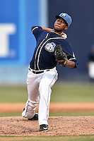 Asheville Tourists pitcher Alexander Guillen (23) delivers a pitch during a game against the West Virginia Power at McCormick Field on June 25, 2016 in Asheville, North Carolina. The Tourists defeated the Power 8-4. (Tony Farlow/Four Seam Images)
