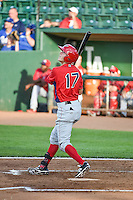 Kyle Survance Jr. (17)  of the Orem Owlz at bat against the Ogden Raptors in Pioneer League action at Lindquist Field on June 18, 2015 in Ogden, Utah.  This was Opening Night play of the 2015 Pioneer League season.  (Stephen Smith/Four Seam Images)