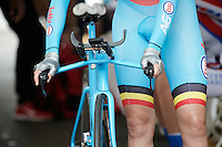 Ann-sophie Duyck (BEL) with her perfect themed TT-bike at the start ramp<br /> <br /> Women TT<br /> UCI Road World Championships / Richmond 2015