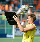 The Hague, Netherlands, June 15: Eddie Ockenden #11 of Australia celebrates holding the World Cup Trophy after the prize giving ceremony on June 15, 2014 during the World Cup 2014 at Kyocera Stadium in The Hague, Netherlands. (Photo by Dirk Markgraf / www.265-images.com) *** Local caption ***