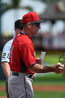 Minnesota Twins manager Paul Molitor (4) during the lineup exchange before a Spring Training game against the Pittsburgh Pirates on March 13, 2015 at McKechnie Field in Bradenton, Florida.  Minnesota defeated Pittsburgh 8-3.  (Mike Janes/Four Seam Images)
